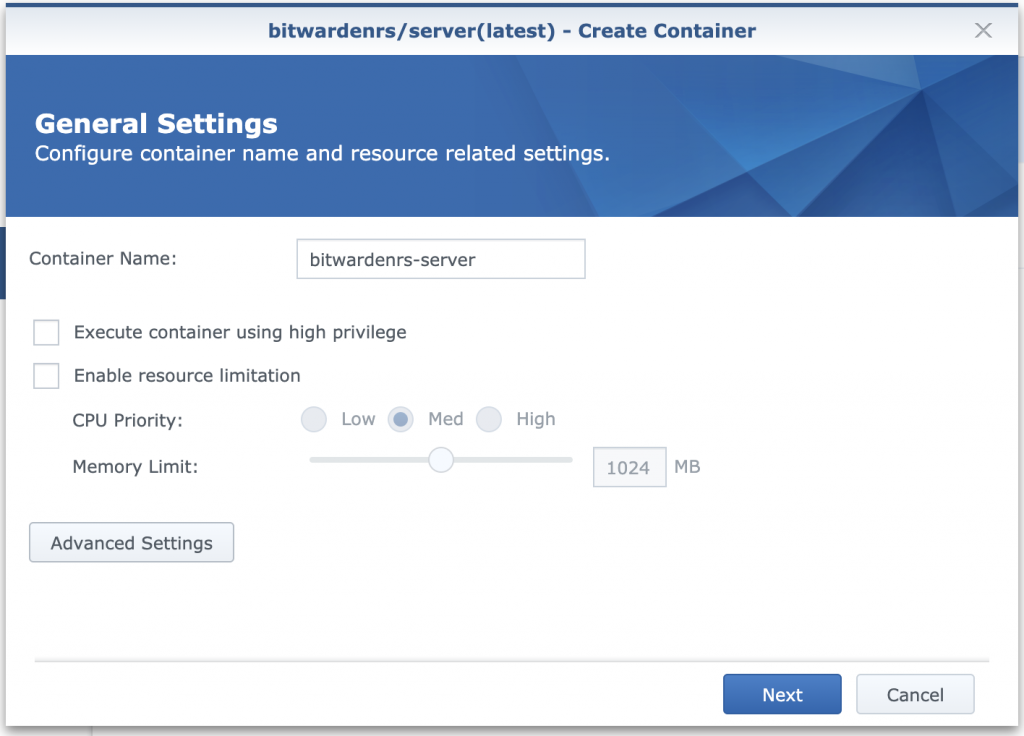 docker container setting
