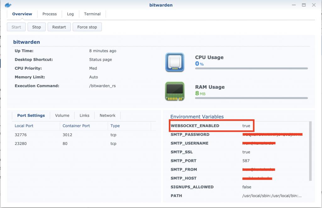 activate WEBSOCKET_ENABLED in bitwarden docker container