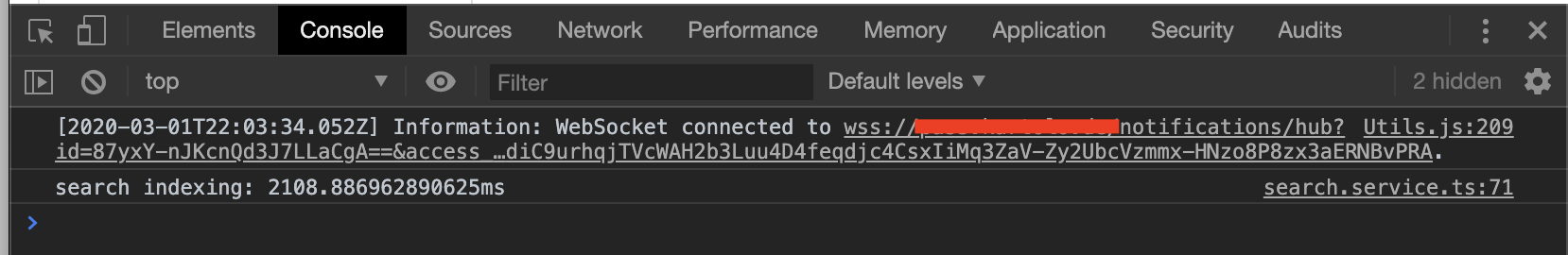 WebSocket connection in the developer tool console